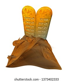 The Tablets of the Ten Commandments with Hebrew Scriptures on a white background. Torah Moshe. Boards of Moses.