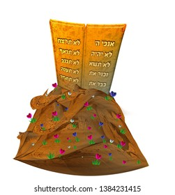 The Tablets of the Ten Commandments with Hebrew Scriptures on a white background. Torah Moshe. Boards of Moses