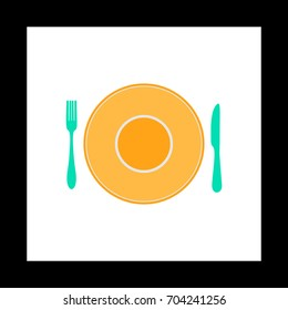 tableware Colorful icon on white square background. Flat symbol illustration