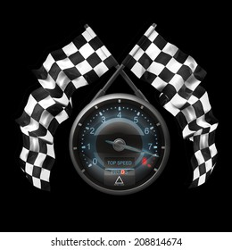 tachometer. Two crossed checkered flags isolated on black background High resolution 3d render