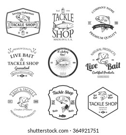 Tackle And Bait Shop Label Design Elements Emblem  illustration