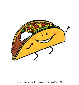 Taco cartoon character on white background; Happy taco drawing