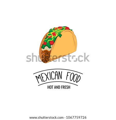 taco traditional mexican food label template stock illustration
