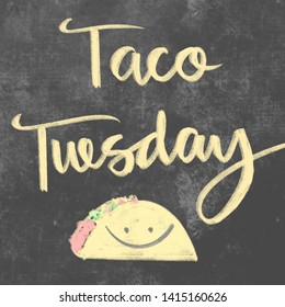 Taco Tuesday calligraphy chalk sign