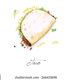 Taco - Watercolor Food Collection