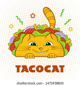 Tacocat happy character mexican fastfood taco symbol illustration. Smile cat mascot with tasty beef meat, salad and tomato in traditional taco with sign Tacocat for website landing promo