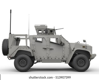 Tactical all terrain military vehicle - side view - 3D Illustration