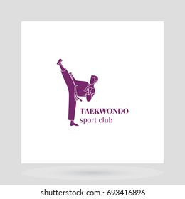 Taekwondo sport club logo design presentation on white. illustration