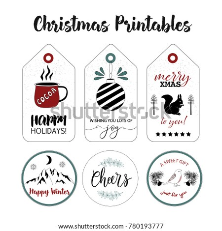tags stickers collection christmas printable labels stock