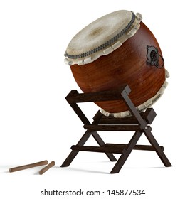 Taiko drums. Traditional Japanese drums instrument