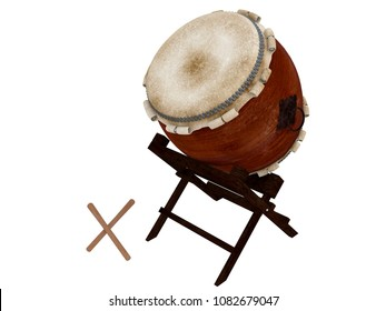 taiko or japanese barrel drum with lashed heads isioalted on a white background 3d rendering