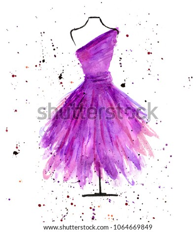 Tailor Doll Watercolor Dress Hand Drawn Stock Illustration Royalty