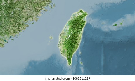 Taiwan area on the satellite D map in the stereographic projection - raw composition of raster layers with light glowing outline