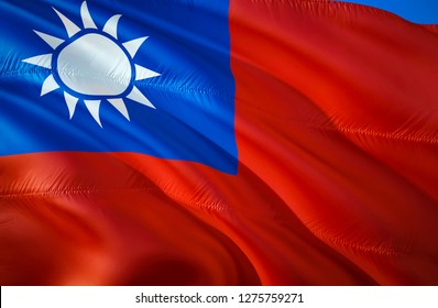 Taiwan flag. 3D Waving flag design. The national symbol of Taiwan, 3D rendering. Chinese Taipei National colors. National flag of Taiwan for a background. Taiwan sign on smooth silk