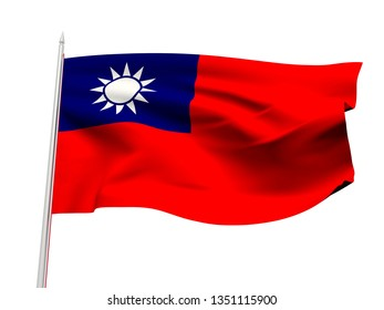 Taiwan flag floating in the wind with a White sky background. 3D illustration.