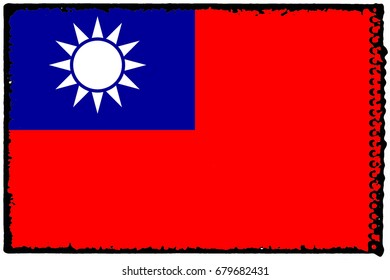 Taiwan flag grunge background. Background for design in country flag