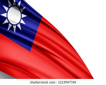 Taiwan   flag of silk with copyspace for your text or images and white background-3D illustration