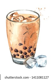 Taiwan Milk Bubble Tea with ice cubes. Food concept. Watercolor hand drawn illustration, isolated on white background