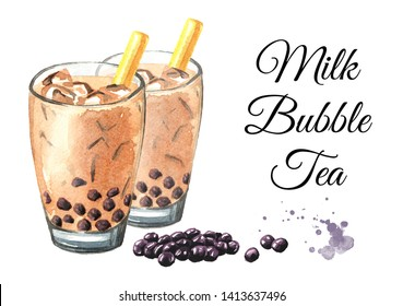 Taiwan Milk Bubble Tea with Tapioca Pearls. Food concept. Watercolor hand drawn illustration, isolated on white background