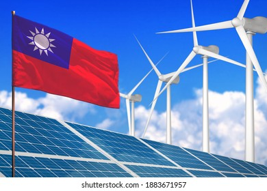 Taiwan Province of China solar and wind energy, renewable energy concept with windmills - renewable energy against global warming - industrial illustration, 3D illustration