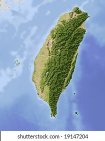 Taiwan. Shaded relief map, with major urban areas. Surrounding territory greyed out. Colored according to vegetation.  Data source: NASA