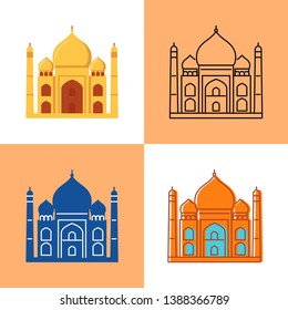 Taj Mahal icon set in flat and line styles. Indian famous temple symbol.