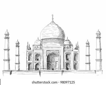 """Taj Mahal"" illustration, pen drawing on white background"