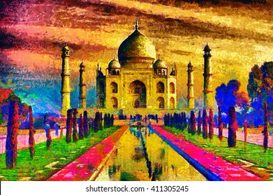 Taj Mahal palace colorful oil painting