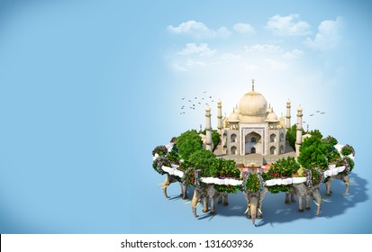 Taj Mahal surrounded by flowers and trees. traveling