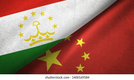 Tajikistan and China two flags textile cloth, fabric texture