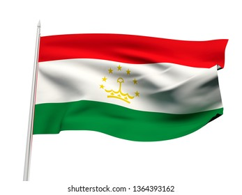 Tajikistan flag floating in the wind with a White sky background. 3D illustration.