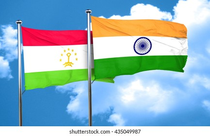Tajikistan flag with India flag, 3D rendering