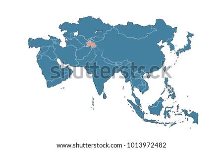 Tajikistan On Asia Map Stock Illustration 1013972482 - Shutterstock