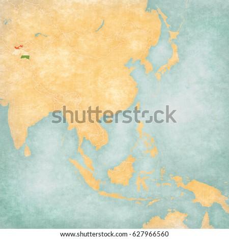 Map Of East And Southeast Asia.Tajikistan Tajikistani Flag On Map East Stock Illustration 627966560