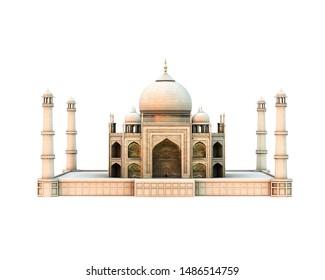 tajmahal isolated on white background 3d illustration