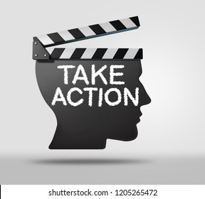 Take action business or life proactive concept as a symbol to dream big or set goals as a movie clapper shaped as a human with 3D illustration elements.