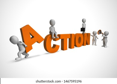 Take action concept icon meaning motivation and urgency to move forward. Proactive process to deliver results - 3d illustration