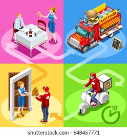 Take away fast food truck and white car or van for hamburger fast home delivery infographic illustration. Isometric people delivery man processing online order at the client customer door