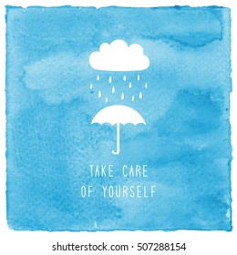 Take care of yourself text on blue watercolor background.