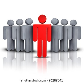 Take charge and social business financial symbol with one leading red human character managing advising and leading a team of followers to a path of success and financial wealth on white background.