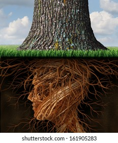 Take root and taking roots business and health care concept as underground tree roots shaped like a human head as a tall tree grows above as an icon of growth and success in health care and wealth.