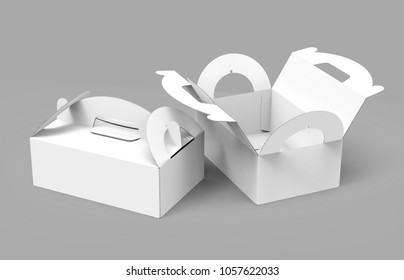 Takeaway carton box with handle, blank paper boxes set in 3d render for design uses, one open and the other closed