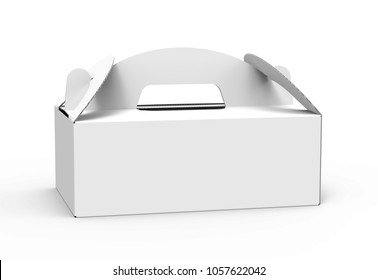 Takeaway carton box with handle, blank paper box in 3d render for design uses