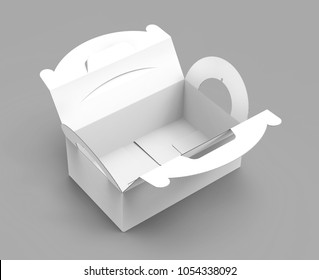 Takeaway carton box with handle, elevated view of blank paper container in 3d render