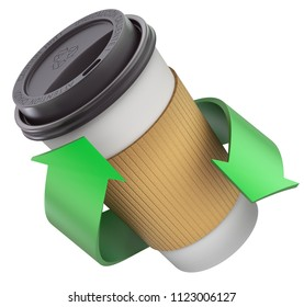 Take-out coffee in thermo cup with the lid and green recycling arrows - 3D illustration