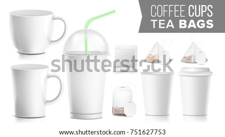Takeout Various Ocher Paper Cups Tea Stock Illustration Royalty