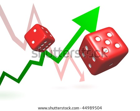 Taking Risks Rolling Dice Symbolizing Taking Stock Illustration