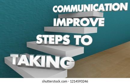 Taking Steps to Improve Communication Words 3d Illustration