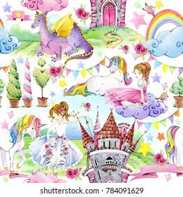 tale seamless pattern. watercolor illustration Castle, Princess, unicorn, rainbow, clouds. magic world background.