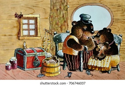 The tale of the three bears,red box,jam jars,drying and tub in the house ,illustration,drawing